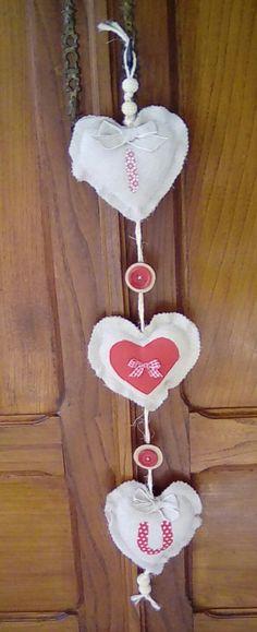 Shabby chic trio of cream hanging hearts, wall hanging,housewarming gift, wall…