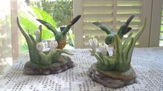 2 Vintage Hummingbird Candle stick Holders by PattiesPassion, $5.99