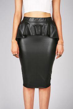 #Pink Ice                 #Skirt                    #Peplum #Midi #Skirt #Pleather #Skirts #Pink        Peplum Midi Skirt | Pleather Skirts at Pink Ice                               http://www.seapai.com/product.aspx?PID=1835452