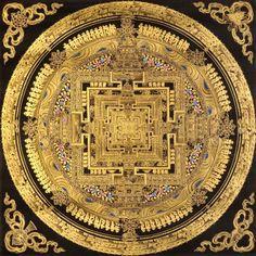 Super Rare Black Tibetan Buddhist Kalachakra Mandala