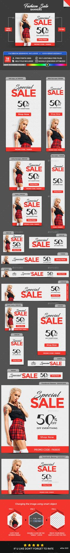 Fashion Banners #adroll #coupon Download : https://graphicriver.net/item/fashion-banners/19380170?ref=pxcr