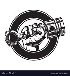 Buy Vintage Monochrome Motorcycle Label by imogi on GraphicRiver. Vintage monochrome motorcycle label with hand holding engine piston in circle isolated vector illustration Garage Logo, Garage Art, Logo Moto, Car Logos With Names, Adobe Illustrator, Engine Tattoo, Motorcycle Logo, Motorcycle Stickers, Motorcycle Tattoos
