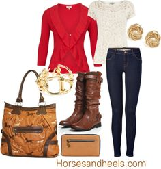 """A pop of red!"" by horsesandheels on Polyvore"