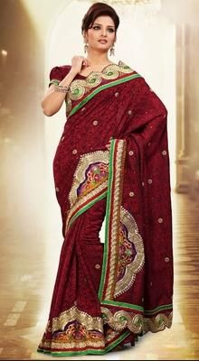 Contemporary Maroon Embroidered Saree