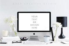 Styled Desktop mockup, black & white by Her Creative Studio on /creativemarket/