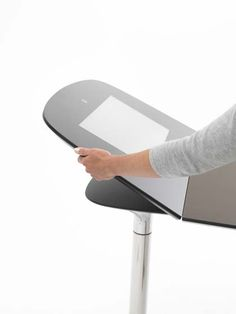 Flip up the end of your meeting table to use the integrated screen or touch-screen facility. All fully cable managed! An amazing talking point and impressive piece of kit available in a range of finishes and sizes from Design and Specify office furniture office design Leeds Yorkshire working nationally.