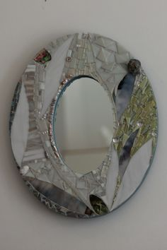 """""""Peaceful Petals"""":  a custom mosaic mirror I created carefully for the client's unique space.  Full view"""