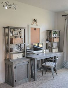 Woodworking Plans Free Plans - DIY Desk System by - Free Woodworking Plans - DIY Bookcase and Desk System by Do It Yourself Sofa, Home Office Desks, Office Setup, Office Table, Office With 2 Desks, Dyi Office Desk, Hone Office Ideas, Corner Office Desk, Rustic Office Desk
