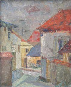 Hanna RUDZKA-CYBISOWA ,W miasteczku , olej, płyta, 61 x 50 cm