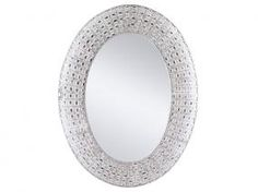 Espejo metal oval blanco