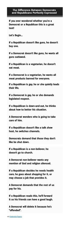 This Is Great  ~~ One Quick 'Test' PERFECTLY Explains the Difference Between a Democrat and a Republican   :)