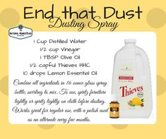 If you'd like a fantastic DIY dusting spray with important oils…right here it's. This stu… Essential Oil Cleaner, Young Essential Oils, Essential Oils Cleaning, Essential Oil Diffuser Blends, Essential Oil Uses, Lemon Essential Oils, Cleaning Recipes, Cleaning Products, Cleaning Tips