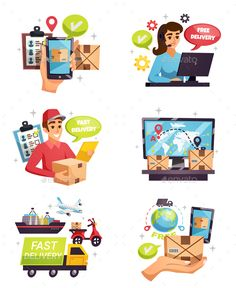 8f9f0116e8 Buy Courier Delivery Compositions Icons Set by macrovector on GraphicRiver.