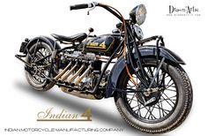 INDIAN 4  - Photo prise sur l'évènement Moto de légende 2017 circuit Dijon- Prenois  Indian est une marque américaine de motos fabriquées de 1901 à 1953 à Springfield dans le Massachusetts. La firme est d'abord connue sous le nom d'Hendee Manufacturing Company, puis est rebaptisée Indian Motorcycle Manufacturing Company en 1901. Elle disparait en 1953, mais la production est relancée en 2004. Depuis avril 2011, la société est devenue une filiale de Polaris Industries, aux côtés de Victory…