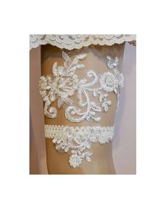 Lace Wedding Garter Set Elegant Beaded Lace by SpecialTouchBridal