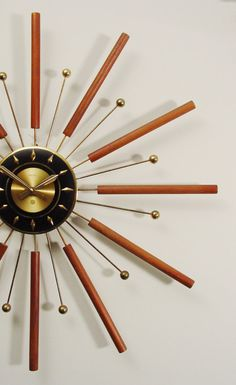 Mid-Century Modern Starburst Wall Clock by Welby
