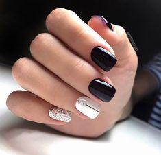 Pin by Ira Valas on Nails designs 1 in 2019 Shellac Nail Colors, Shellac Nails, Nail Manicure, Acrylic Nails, Green Nails, Black Nails, Pink Nails, Valentine Nail Art, Glamour Nails