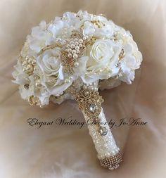 Gold Bouquet, Broschen Bouquets, Gold Wedding Bouquets, Hydrangea Bridal Bouquet, Wedding Brooch Bouquets, Silk Flower Bouquets, Rose Wedding Bouquet, Purple Wedding, Flowers