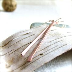 White Washed Patina Copper, Sterling - Stick Earrings - 'Twigs' Patina Earrings