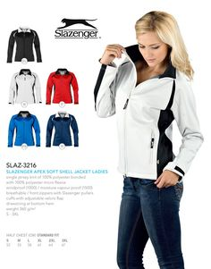 The Slazenger Apex Ladies Soft Shell jacket looks great when branded. Brand Innovation, supplies, brands and delivers corporate clothing in South Africa Brand Innovation, Corporate Outfits, Ms Gs, South Africa, Looks Great, Shells, Jackets For Women, Lady, Coat