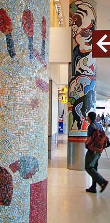Mosaic Columns at SeaTac airport. Public Art 4Culture: Project Profiles in Consulting