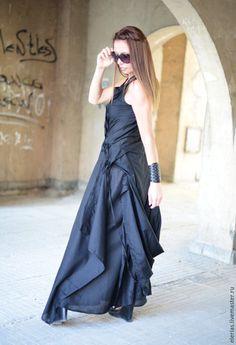 Купить Платье - черный, длинное летнее платье, платье в пол, платье для полных