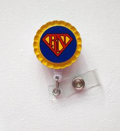 RN Superman   ID Badge Holder  Badge Reel  Name Tag by JeJeweled, $6.00