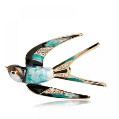 Buy Blucome Vivid Swallow Shape Brooch Pin Black Blue Enamel Gold Color Metal Scarf Pins Women Kids Suit Clothes Accessories Jewelry at Wish - Shopping Made Fun Jewelry Trends, Jewelry Sets, Jewelry Accessories, Hawaiian Jewelry, Ocean Jewelry, Scarf Jewelry, Jewellery, Wedding Accessories, Metallica
