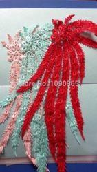 Online Shop 18 cm X 56 cm Off White Red turquesa verde luz Champagne rosa bordado PhoenixCollar Lace Applique guarnição Aliexpress Mobile