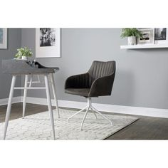 Shop Calico Designs Adelaide Swivel, Home Office Accent Chair with Arms, No Casters in White Metal Legs/ Dark Grey Faux Suede - Free Shipping Today - Overstock - 29630141