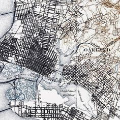 Oakland CA Historical Topographic Map 1897 Borderless Wall Prints, Poster Prints, Vintage Maps, Topographic Map, Cartography, Map Art, Large Prints, The Incredibles
