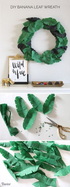Learn how to make paper leaves and turn them into this cute DIY paper banana leaf wreath. This tropical leaf is perfect for summer and sunny days! Diy Flowers, Paper Flowers, Paper Peonies, Diy Paper, Paper Crafts, Tissue Paper, Diy Crafts, Geek Crafts, Paper 53