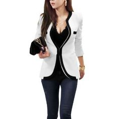 Allegra K Ladies Side Pockets Long Sleeves Leisure Spring Blazer White XS
