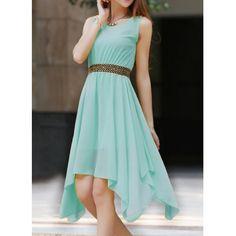 Wholesale Stylish Jewel Neck Asymmetric Sleeveless Chiffon Dress For Women Only $7.31 Drop Shipping | TrendsGal.com