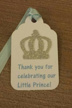 Royal Little Prince Favor Tags 1st birthday or baby shower Light Blue and Silver Gold also available