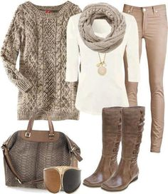 Neutrals/browns/tans/creams make me happy :) I would LOVE to have a pair of skinny jeans/pants that are this color.