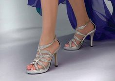 Touch Ups Silver Formal Platform Wedding Prom Pageant Fire Shoes with Crystals