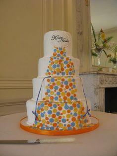 wedding cake, modern, fondant, simple, elegant, dots, fun, blue, orange, yellow, colorful