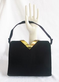 40's 50's Vintage Black Velvet Art Deco Purse Hand Bay by Lewis