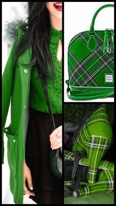 Green Outfit Tartan Fashion, Green Fashion, Winter Fashion, Girl Fashion, Womens Fashion, Classy Outfits, Casual Outfits, Green Bag, Green Fabric