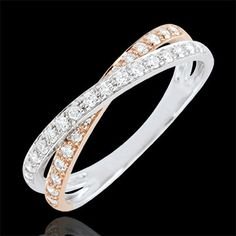 joaillerie Alliance Saturne Duo double diamant - or rose et or blanc - 18 carats
