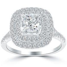 1.96 Carat H-SI1 Cushion Cut Natural Diamond Engagement Ring 18k Gold Pave Halo #LioriDiamonds #DiamondEngagementRing