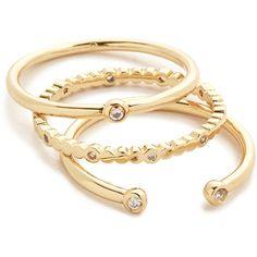 Gorjana Medley Ring Set ($56) ❤ liked on Polyvore featuring jewelry, rings, 18 karat gold jewelry, gorjana, gorjana jewelry, set rings and gorjana rings