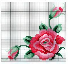 This Pin was discovered by Nec Easy Cross Stitch Patterns, Simple Cross Stitch, Cross Stitch Rose, Bead Loom Patterns, Cross Patterns, Cross Stitch Flowers, Cross Stitch Designs, Hand Embroidery Projects, Embroidery Patterns