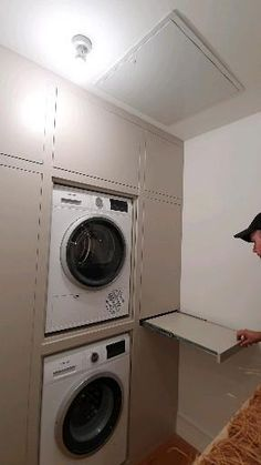 Laundry In Kitchen, Pantry Laundry Room, Laundry Room Layouts, Laundry Room Remodel, Laundry Room Bathroom, Small Laundry Rooms, Laundry Room Organization, Washer Dryer Closet, Small Washer And Dryer