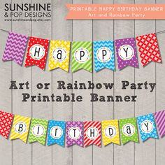 INSTANT DOWNLOAD - Art Party Rainbow Happy Birthday Banner - Perfect for art or paint party, printable rainbow party theme decoration