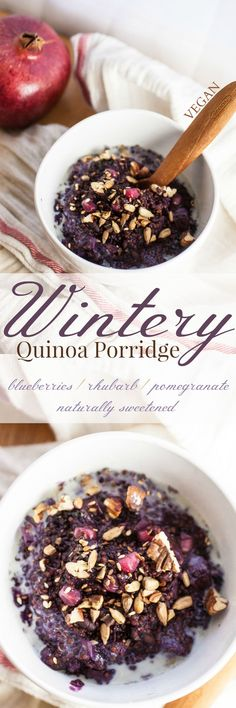 Produce On Parade - Wintery Quinoa Porridge - A most divine wintery breakfast to keep you toasty warm and satisfied on a snowy morning. Wild blueberries and rhubarb from autumn mingle with fresh, winter pomegranates in this timely and humble quinoa porridge, speckled with toasted nuts and seeds.