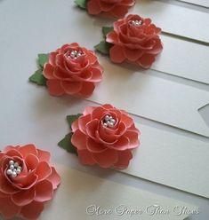 Escolten a flores de papel hecho a mano - tarjetas - tarjetas - Salmon - bodas - decoraciones para la mesa - Set de 100 - por encargo