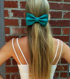 Bright Turquoise Big Hair Bow by EsmerAccessories on Etsy, $7.00
