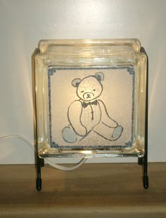 Teddy Bear Lamp FREE SHIPPING upcycled blue white handmade
